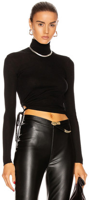 Alexander Wang Ruched Rib Long Sleeve Cropped Turtleneck Top in Black | FWRD
