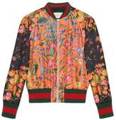 Gucci Embroidered patchwork print silk bomber