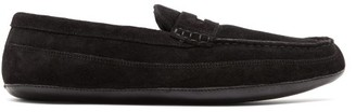 Grenson Sly Suede Penny Slippers - Mens - Black