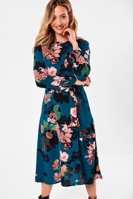 Iclothing iClothing Juliet Floral Print Midi Dress in Emerald