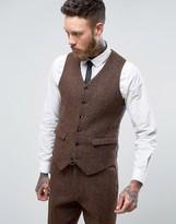 Asos Slim Suit Waistcoat In Harris Tweed Check 100% Wool