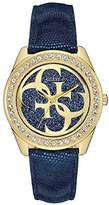 GUESS Women's Quartz Watch with Blue Dial Analogue Display and Blue Leather Bracelet W0627L2