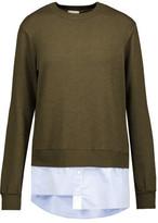 Clu Cotton Poplin-Paneled Stretch-Knit Sweater