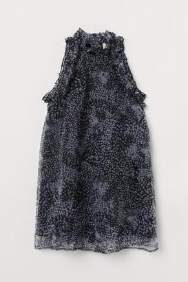 H&M Ruffle-trimmed A-line Dress - Black