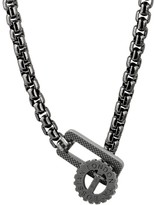 Tateossian Rhodium-Plated Sterling Silver Gear-Clasp Pendant Necklace