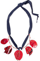Marni Gold-plated, Horn, Crystal And Suede Necklace