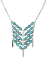 Lucky Brand in Silver-Tone Multi-Stone and Feather Detail Statement Necklace
