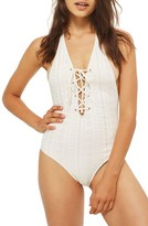Topshop Women's Lace-Up Broderie One-Piece Swimsuit