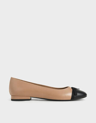 Charles & Keith Two-Tone Ribbon Tie Ballet Pumps