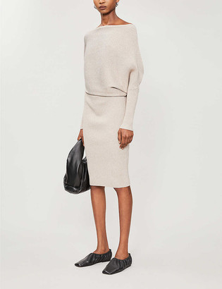 Reiss Lara off-the-shoulder knitted midi dress