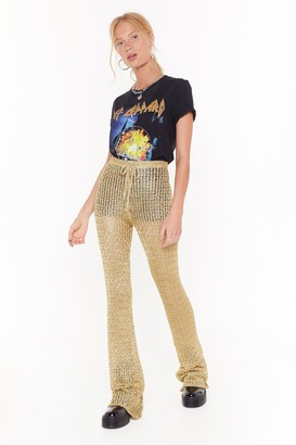 Nasty Gal Womens Heading to Woodstock High-Waisted Flared Trousers - Metallics - M