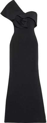 Badgley Mischka One-shoulder Ruffled Neoprene Gown