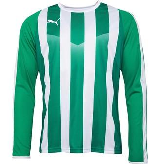 Puma Mens Liga Striped Long Sleeve Jersey Pepper Green White