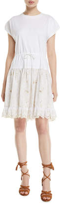 See by Chloe Short-Sleeve Cotton Dress with Lace Combo