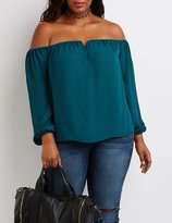 Charlotte Russe Plus Size Off-The-Shoulder Notched Top