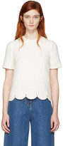 Valentino Ivory Scallop Rockstud Blouse