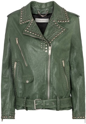 Golden Goose Golden studded leather biker jacket