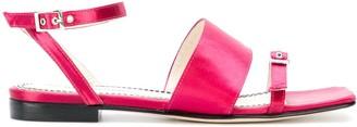 Nicole Saldaña Buckled Satin Sandals