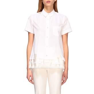 Sacai Short-sleeved Shirt With Flounce Hem