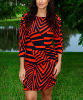 Red & Black Abstract Three-Quarter Sleeve Shift Dress