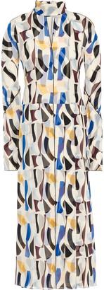 Victoria Beckham Cutout Printed Crepe De Chine Midi Dress