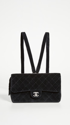 What Goes Around Comes Around Chanel Black Velvet Flap Backpack