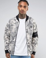 Criminal Damage Jersey Bomber Jacket In Grey Camo With Arm Band