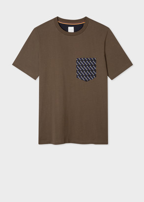 Men's Olive Organic Cotton T-Shirt With Contrast Pocket