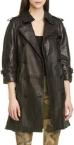 R 13 Leather Trench Coat