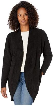 UGG Fremont Fluffy Knit Cardigan (Black) Women's Sweater
