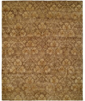 Wildon Home Floral Hand Knotted Wool Brown Area Rug Rug Size: Rectangle 12' x 15'