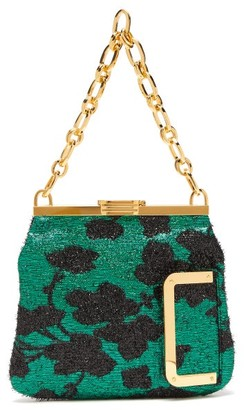 BIENEN-DAVIS 5am Floral Lame Clutch - Black Green