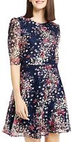 Oasis Lace Printed Puff Sleeve Dress, Multi/Blue