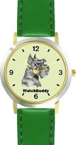WatchBuddy Miniature Schnauzer (SC) Dog DESIGNER DELUXE TWO-TONE THEME WATCH - Arabic Numbers-EMERALD ISLE STYLE - Light Green Dial with Green Leather Strap-Children's Size-Small ( Boy's Size & Girl's Size )