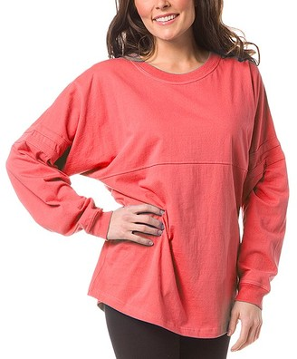 Boxercraft Women's Sleep Tops COR - Coral Pom-Pom Jersey Oversize Lounge Top - Women & Plus