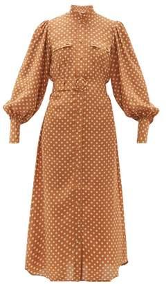 Zimmermann Espionage Polka Dot Silk Shirtdress - Womens - Brown Print