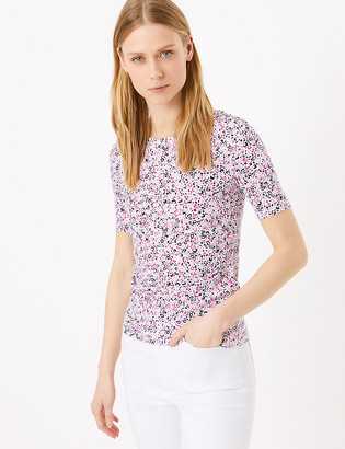 Marks and Spencer Pure Cotton Animal Print Short Sleeve Top