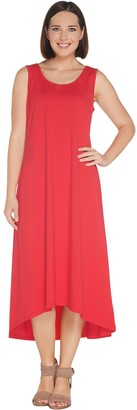 Joan Rivers Classics Collection Joan Rivers Regular Jersey Knit Midi Dress w/ Hi-Low Hem and Pockets