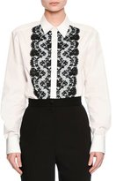 Dolce & Gabbana Lace-Trim Poplin Blouse, White
