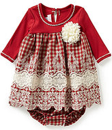 Bonnie Jean Bonnie Baby Baby Girls Newborn-24 Months Embroidered Checked Dress