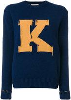 MAISON KITSUNÉ 'K' frayed pattern jumper - women - Lambs Wool - S