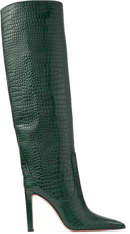 e819c3601e4 MAVIS 100 Dark Green Croc Embossed Leather Knee High Boots