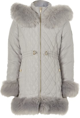 River Island Girls Grey quitled faux fur trim padded coat
