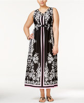 NY Collection Plus Size Embellished Printed Maxi Dress