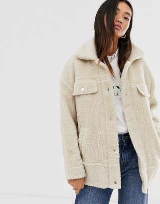 Only oversized teddy trucker jacket-Beige