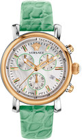 Versace Day Glam Chronograph Watch w/ Leather Strap, Rose Golden/Mint Green