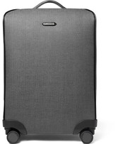 Ermenegildo Zegna Leather-Trimmed Herringbone Coated-Canvas Suitcase