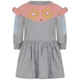 Fendi FendiBaby Girls Grey & Pink Piro-Chan Jersey Dress