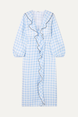 Marysia Swim Ruffled Gingham Linen Wrap Dress - Light blue