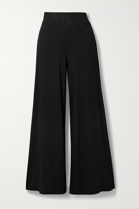 L'Agence Crawford Ribbed Stretch-modal Wide-leg Pants - Black